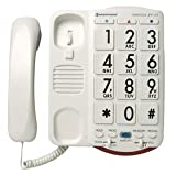 High Volume 50dB Cool Fashioned Style House Large Braille Button Key White Corded Telephones With 95dB Ringer For Old Has Low Vision Visually Sight or Hearing Impaired In 1940s 1920s 1900s 1950s 1930s