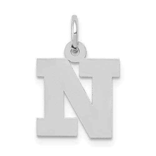 Jewelry Pendants & Charms Themed Charms 14k White Gold Small Block Initial N Charm