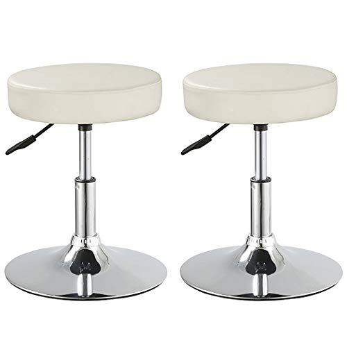 - Duhome Set of 2 Medical Stools Spa Salon Stool Swivel Height Adjustable PU Leather Seat Bathroom Stool Ottoman Modern (White)