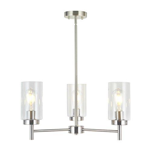 (VINLUZ 3 Lights Modern Chandeliers Metal Light Fixtures Ceiling Brushed Nickel Industrial Pendant Lighting for Dinging Room Living Room Kitchen Bedroom Hallway)