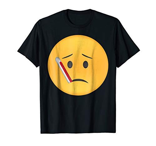Funny Emoji of Sick Face Thermometer T-Shirt Emoticon Tee