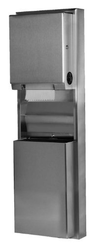 (Bobrick 39619 ClassicSeries Stainless Steel Surfaced Mounting Convertible Paper Towel Dispenser and Waste Receptacle, Satin Finish, 17-1/2