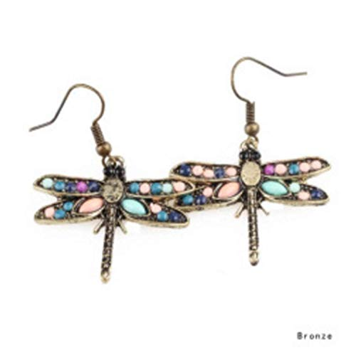 Bohemian Earrings Full Diamond Drop Earrings Beaded,Dragonfly