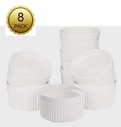 Accguan Set of 8 PCS 6 oz Round Porcelain Oven Safe Ramekin Dessert Souffle Baking Dish(3.5 INCHES) (White) ()