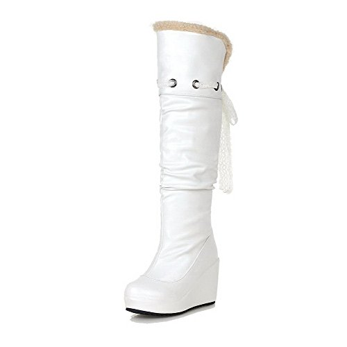 Allhqfashion Women's High-top Pull-on Soft Material High-Heels Round Closed Toe Boots White 2JmwOJ2D