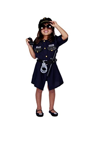 MATISSA Children's Police Officer Role Play Costume and Accessories Boys Girls (Girl, S (for Girls up to 50