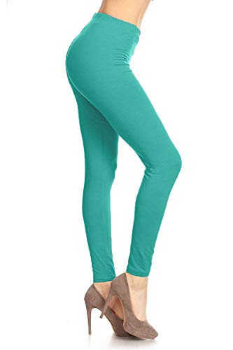 LDR128-Jade Basic Solid Leggings, One Size -
