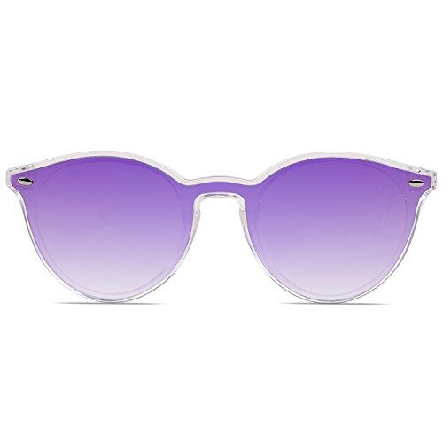SojoS Con Gafas Tache Delgado De Espejo SJ2060 Redondo Mujer Sol Morado Transparente Lente Marco Marco C6 0q0wrxB8d