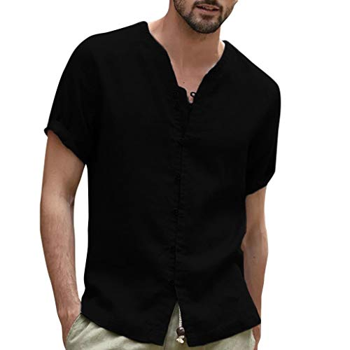 Mens Slim Cotton Linen Tank Tops Undershirt Men Comfortable Breathable Tops White Crew Neck Short Sleeves (Black, XL) ()