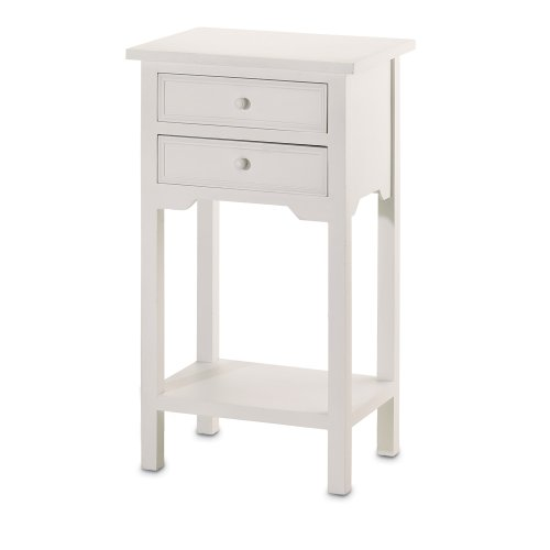 VERDUGO GIFT End Table with 2 Drawers, White