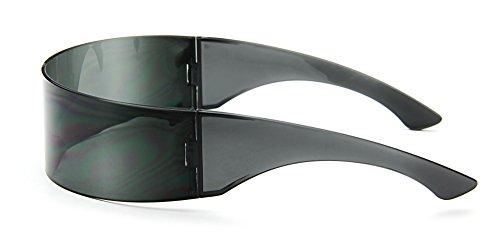 Futuristic Cyclops Sunglasses Wrap Around Shield Monoblock 100% UV400,Black