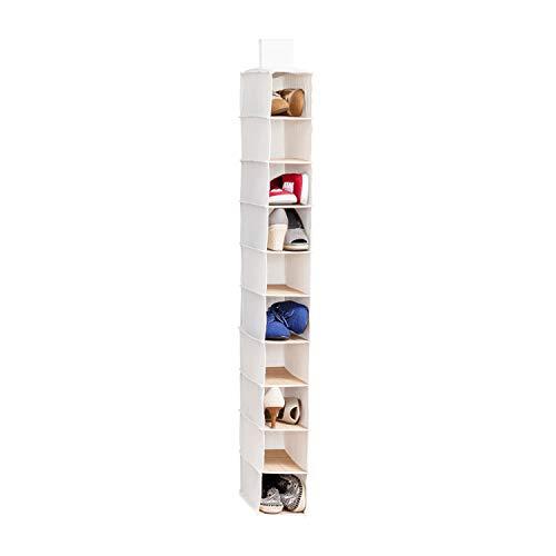 Honey-Can-Do SFT-01001 Hanging Shoe Organizer, Bamboo/Canvas, - 10 Shoe Bag Storage Shelf