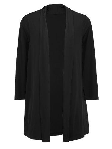 Ulla Popken Plus Size Matte Jersey Shawl Lapel Jacket - Black, 16/18