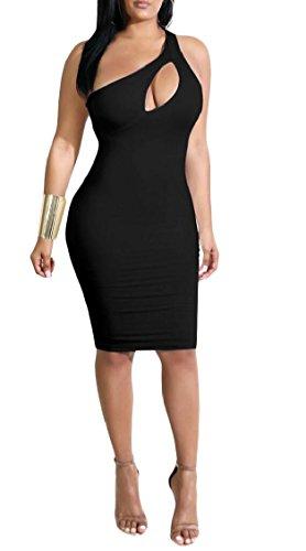 One Sexy Shoulder Dress Jaycargogo Bodycon Midi Out Cut 3 Women Clubwear wEqB5