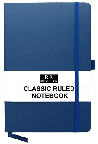 RICCO BELLO A5 Classic College Ruled Notebook, Pen Loop, 192 pages, 5.7 x 8.4 inches (Royal Blue)