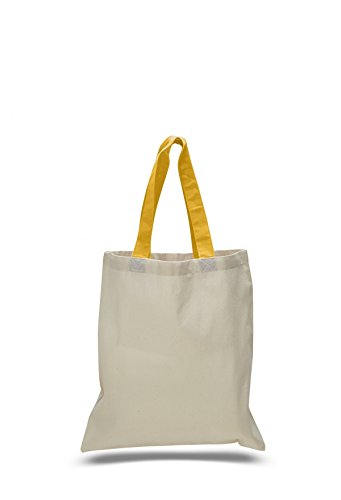 Canvas Colored Handle Tote Bag Gold