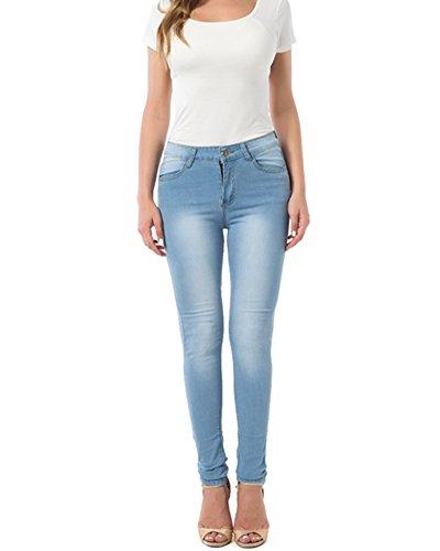 Femmes Skinny Jeans Elastique Collant ciel Pantalons Bleu Denim 6UwAg6rq