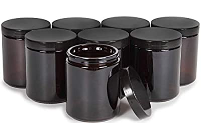 Vivaplex, Amber, 8 ounce, Round Glass Jars, with Black Lids - 8 pack