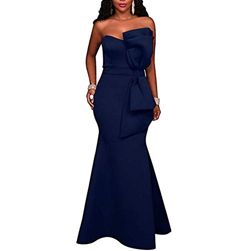 Evening Gowns Navy Blue Off Shoulder Strapless Bow Applique Party Maxi Dress L ()