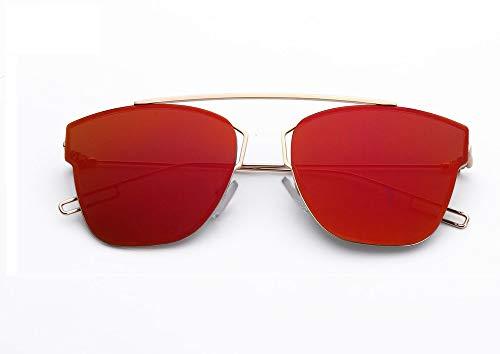 ☀ Lens Soleil Mirror Reflection Rouge Frame Metal Lunettes De Kaister 4pwxqdUd