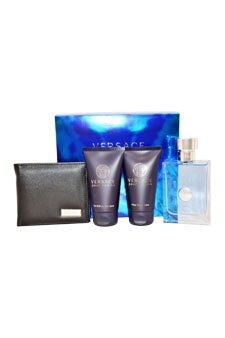 Versace Pour Homme by Versace for Men - 4 Pc Gift Set 3.4oz EDT Spray, 1.7oz After Shave Balm, 1.7oz Hair & Body Shampoo, Versace Black Wallet