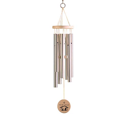 - Woodstock Percussion Silent Night Wind Chime - Outdoor Christmas Carol Wind Bells with Nativity Scene Wind Catcher - Hangs 27