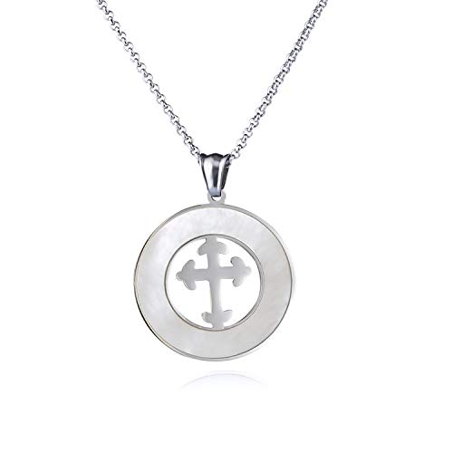 (Love Explosion Stainless Steel Round Pendant Necklace for Women and Men Religious Engraved Medallion Beautiful Arrow Cross Pattern Jewelry with Adjustable Chain)