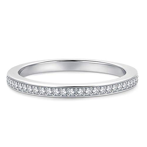 2.0mm Rhodium Plated Sterling Silver Micropave Cubic Zirconia CZ Half Eternity Wedding Ring (5.5) ()