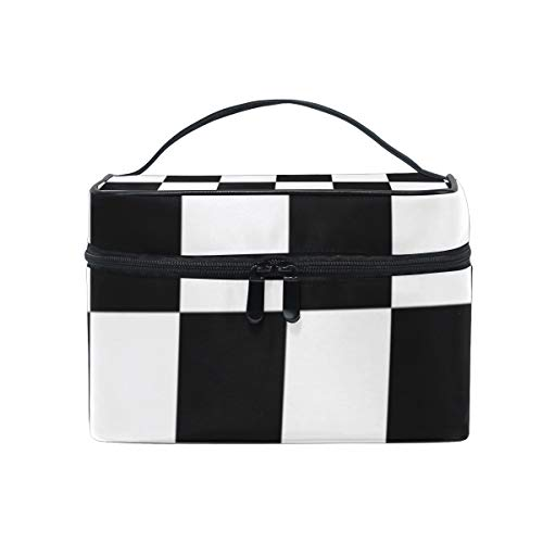 Checkered Flag Racing Cosmetic Bags Organizer- Travel Makeup Pouch Ladies Toiletry Train Case for Women Girls, CoTime Black Zipper and Flat Bottom
