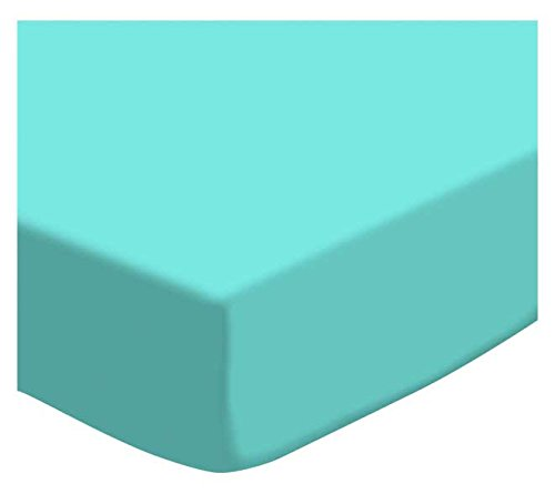 SheetWorld Fitted Cradle Sheet - Solid Aqua Woven - Made In USA
