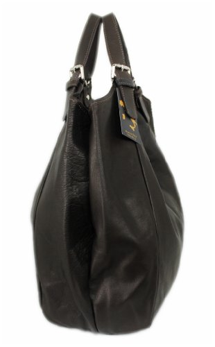Leatherworld - Womens Cloth Bag, Cognac (brown) - Dark Brown 4250736212659
