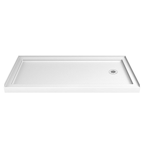 (DreamLine SlimLine 34 in. D x 60 in. W x 2 3/4 in. H Right Drain Single Threshold Shower Base in White)