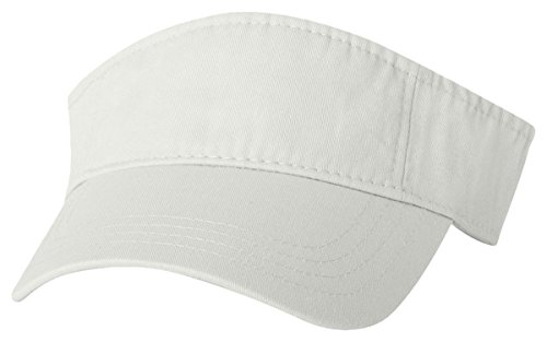 Washed Visor, White, ADJ (Bio Washed Twill Cap)