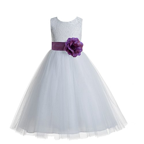 (ekidsbridal Floral Lace Heart Cutout White Flower Girl Dresses Wisteria First Communion Dress Baptism Dresses 172T 2)