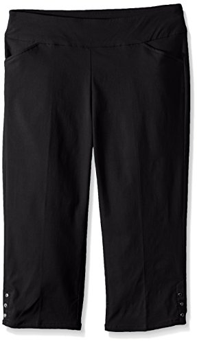 Napa Valley Women's Petite Size Super Stretch Pull On Straight Leg Capri Pant, Black 6P