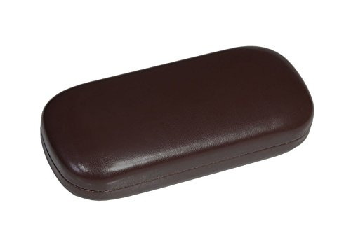Hard Metal Bodied Eyeglass Case for Medium to Large Frames with Shiny Finish in Brown