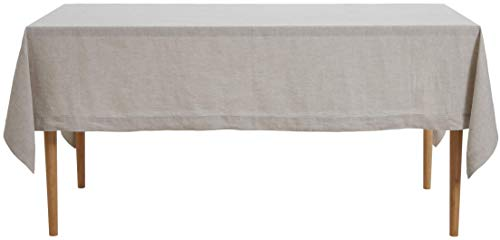 DAPU Pure Linen Tablecloth 100% French Natural Linen for Kitchen Dinning Tabletop Decoration (Rectangle/Oblong, Natural Linen, 60×84 Inch)