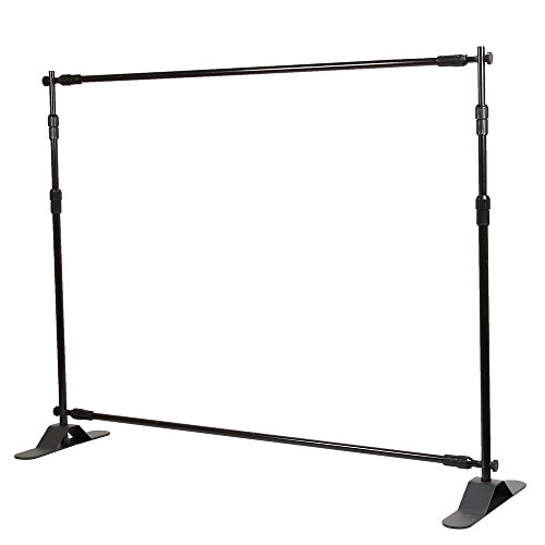 Flexzion Backdrop Stand - Telescopic Banner Stand 10'x8' Step and Repeat Adjustable Photographic Back Ground Expanding Display for Party Trade Show Exhibitions Wall Exhibitor with Carrying Case by Flexzion