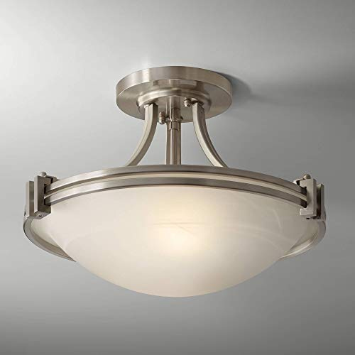(Deco Ceiling Light Semi Flush Mount Fixture Brushed Nickel 16