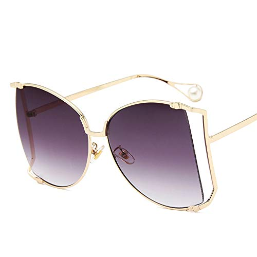 AAMOUSE Sunglasses Venetian Pearl Decoration Oversize Half Frame Women Butterfly Sunglasses Fashion Men Gradient/Clear Lens Shades ()