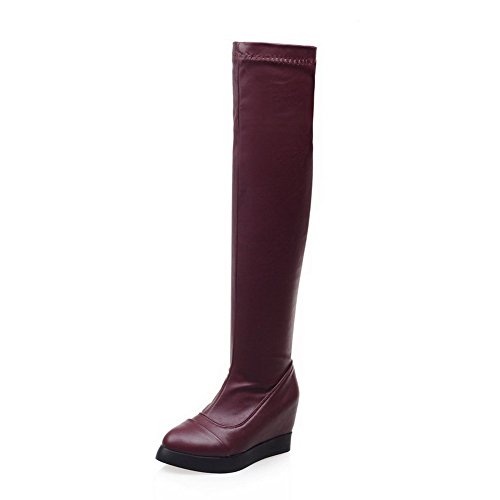 AgooLar Women's Blend Materials Solid Round Closed Toe Boots Claret-platform F8yZGluiSQ