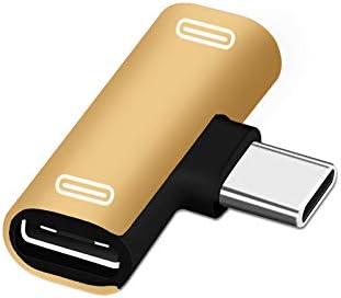 ACHICOO Dual Type C USB-C Earphone Headphone Audio Charging Charger Adapter Splitter Convertor for xia//omi 6 6X 8 Note3 Mix 2 Hua//wei Mate 10 P20 Black Transfer Double Type-c Port
