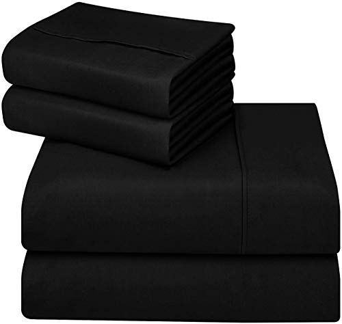 Utopia Bedding Soft Brushed Microfiber Wrinkle Fade and Stain Resistant 4-Piece King Bed Sheet Set - Black