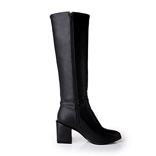 High Closed Round MNS01973 Strap Boots Urethane High Adjustable Zip Toe Toe Top Black Heel 1TO9 Boots Womens Urethane E7nwqSfzU