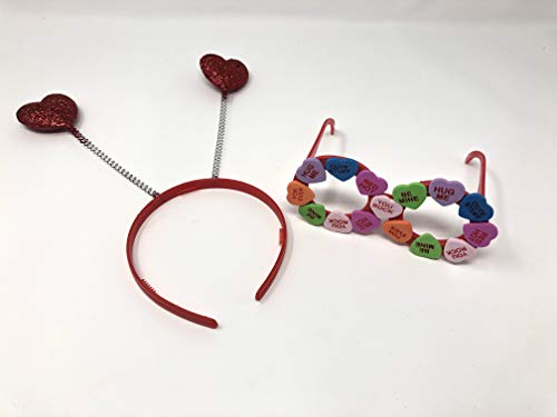 Valentine's Day Outfit Accessories - Heart Headband Headbopper and Red Foam Candy Heart Eyeglasses -