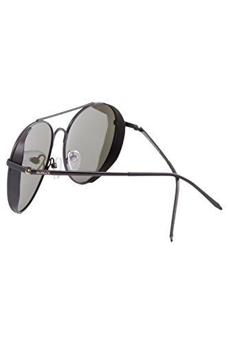 Hommes Bouclier avec Polarisé Soleil Unisexe Latéral Noir Lunettes Aviateur Argenté de Teintes Rétro NOROZE Miroir Femmes 5tdqzx0n88