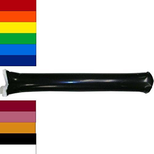 Team Color Bam Bam Thunder Stick Thunderstix Set of 20 -Inflatable Noisemakers Available in 11 Vibrant Colors (Black)
