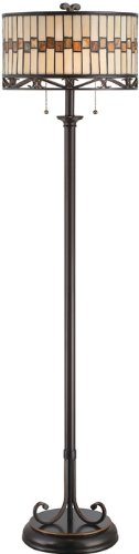 Lite Source C61154 Floor Lamp with Amber Tiffany Glass Shades, 15
