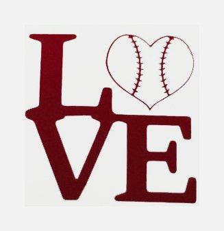 Baseball Love Decal Vinyl Sticker|Cars Trucks Vans Walls Laptop| RED|5.5 x 5.5 in|CCI1238