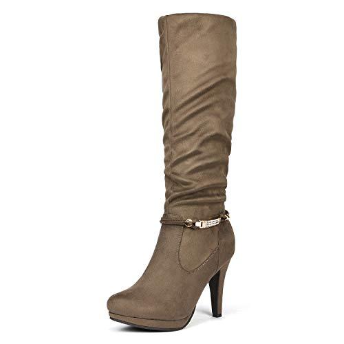 DREAM PAIRS Women's Sarah Natural Knee High Platform Heel Boots Size 8.5 M US